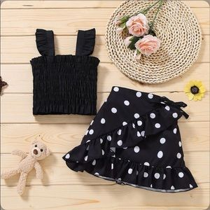 Girl's 2 Piece Sling Top and Skirt Set